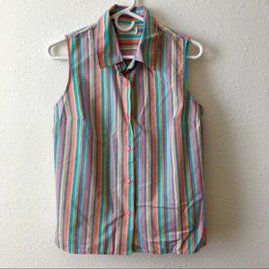 Vintage pastel striped sleeveless button up